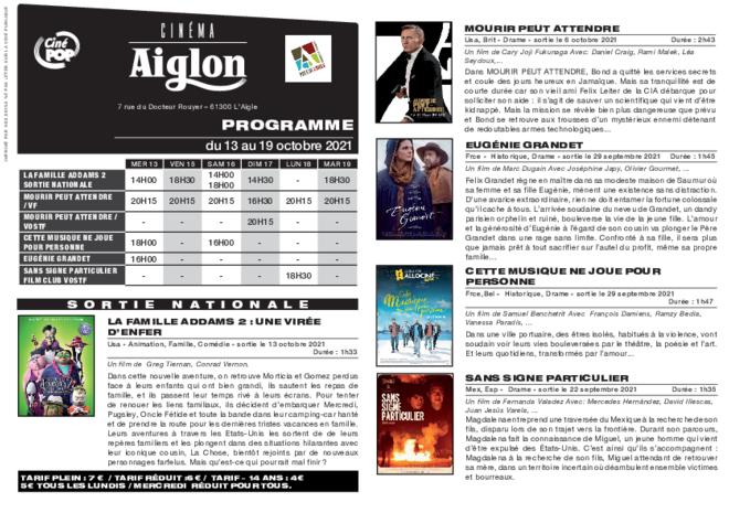 Programme du 13 au 19 octobre