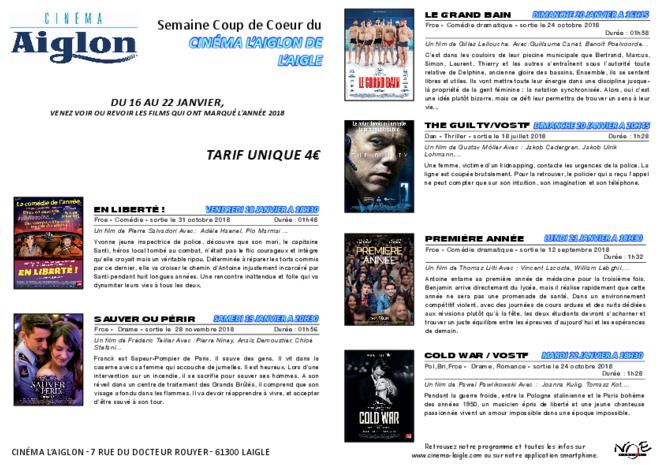 SEMAINE CINÉ COUP DE COEUR DU 16 AU 20 JANVIER