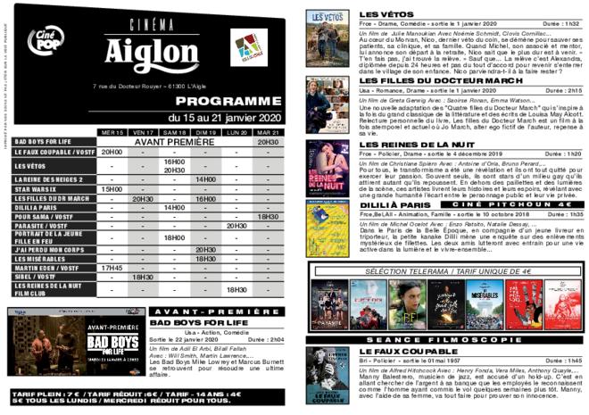 Programme du 15 au 21 janvier