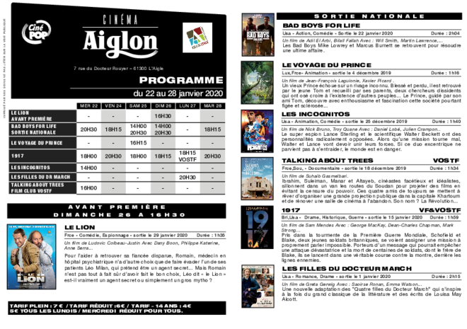 Programme du 23 au 29 janvier
