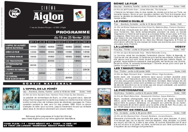 Programme du 20 au 26 février