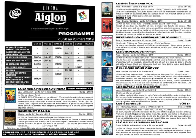 Programme du 20 au 26 mars