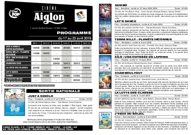 Programme du 17 au 23 avril