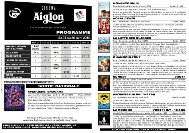 Programme du 25 avril au 01 mai