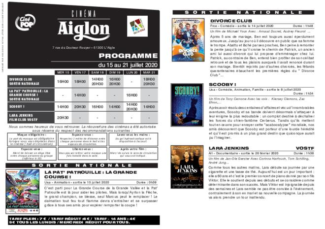 Programme du 18 au 24 juillet