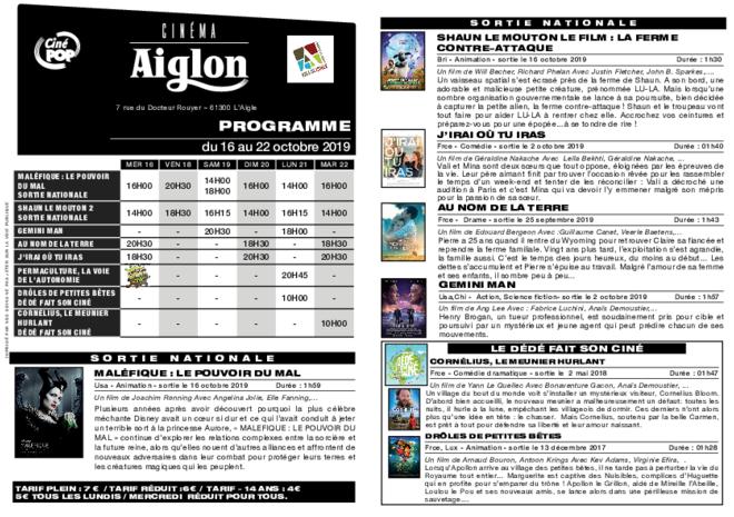 Programme du 16 au 22 octobre