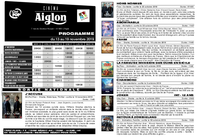 Programme du 13 au 19 novembre