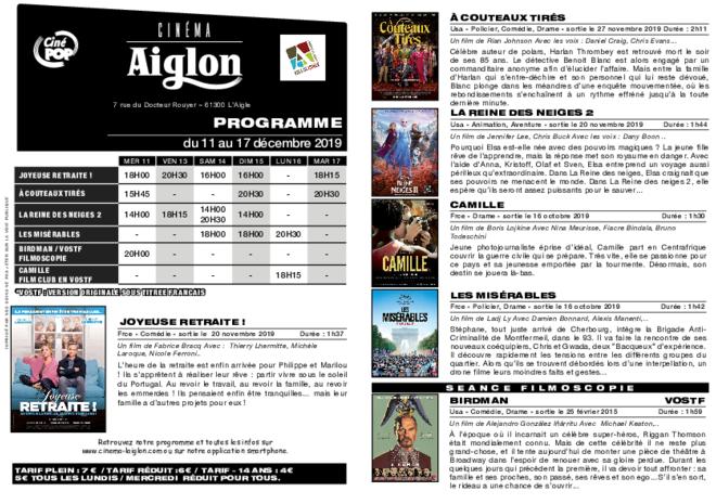 Programme du 12 au 18 décembre